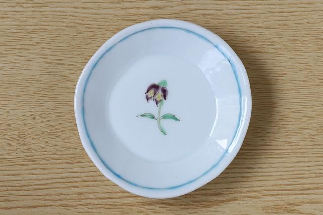 藍水 一つ花黒百合 豆皿 うつわ藍水 波佐見焼
