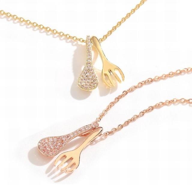 スプーン & フォーク ネックレス 金属アレルギー対応 チェーン付き 食器 ペンダント アクセサリー チタン K14メッキ シンプル / Eating is a blessing clubbicle chain necklace (DTC-617708374182)