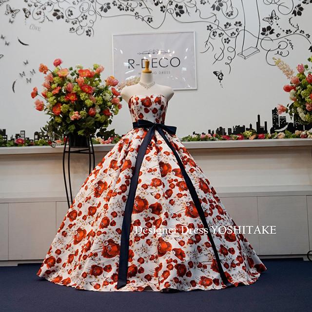 ウエディングドレス(パニエ無料) 赤い花柄 披露宴/二次会