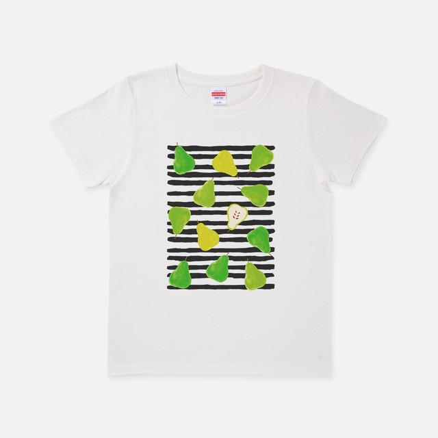 Tシャツ[URAMABUTA]洋なしとボーダー バニラホワイト色