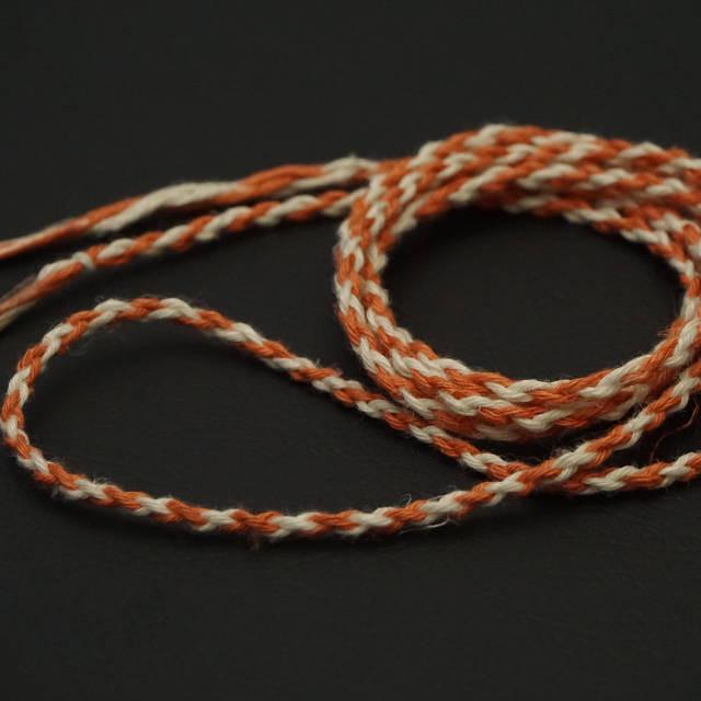ヘンプ紐 四つ編み オレンジ×ホワイト