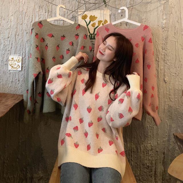 【送料無料 】甘めないちご柄 ♡ ガーリー フェミニン 大人可愛い 丸首 ニット セーター トップス