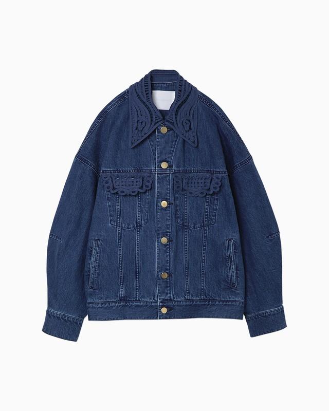 【Mame Kurogouchi】《21SS》オーバーサイズエンブロイダリードデニムジャケット blue
