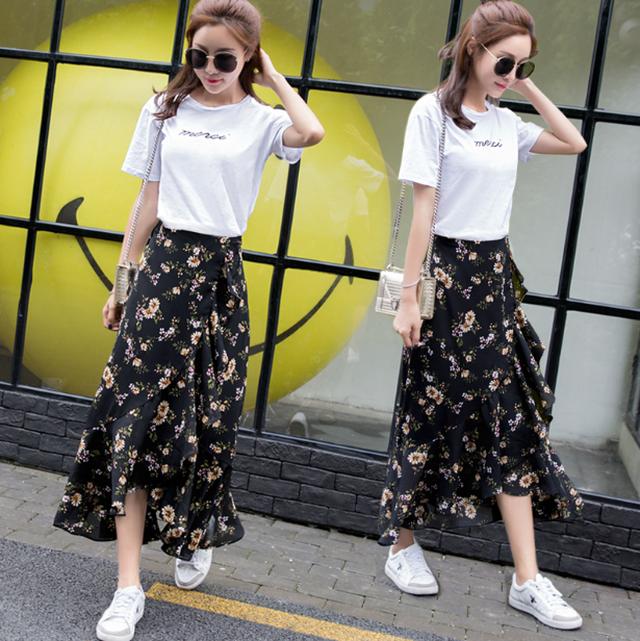 おしゃれ 花柄スカート 不規則スカート シフォン SHD170505
