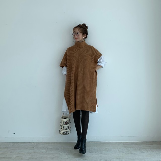 2way turtle poncho /  camel  10/11 21;00 ~ 再販 (即納)