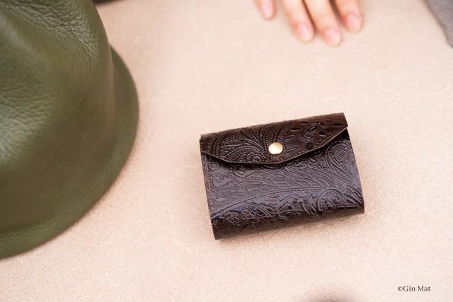 小さなお財布 < つる草模様 Dark Brown >