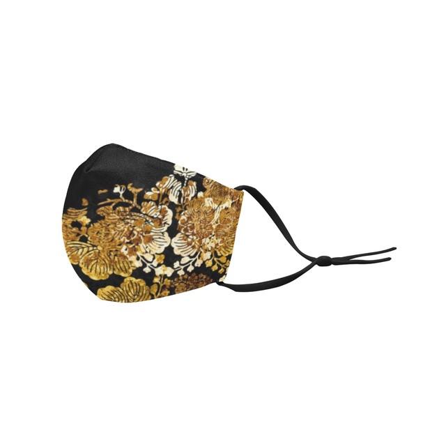 家紋装飾ゴールド 和柄ファッションマスク フィルターポケット付