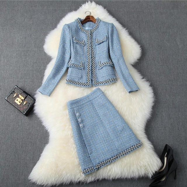 ビジュー ツイードスーツドレス