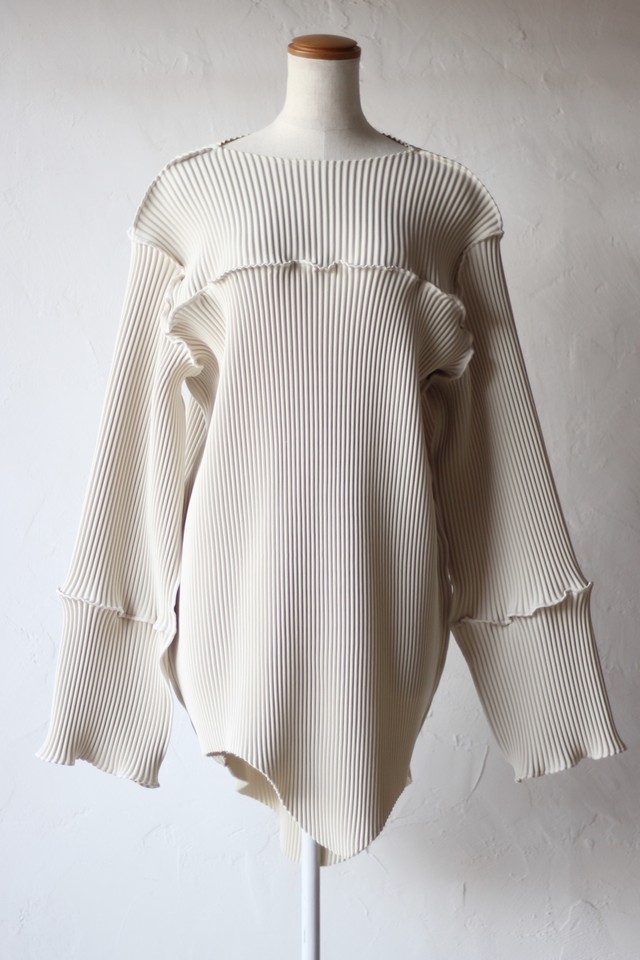 【kotohayokozawa】pleats mini dress-white