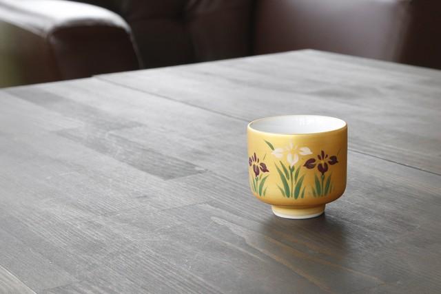 【SP3A10-01】『日本四季盃』『杜若(愛知県花)』  *四季の草花の盃 手書き 美しい 金 花の盃