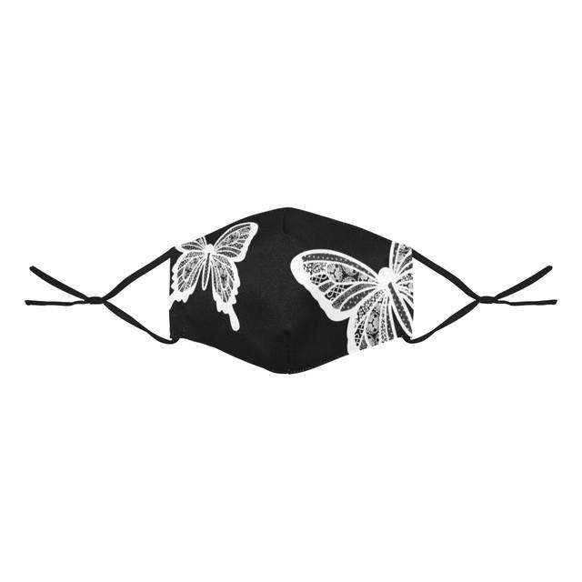 家紋透かし白蝶 和柄ファッションマスク フィルターポケット付