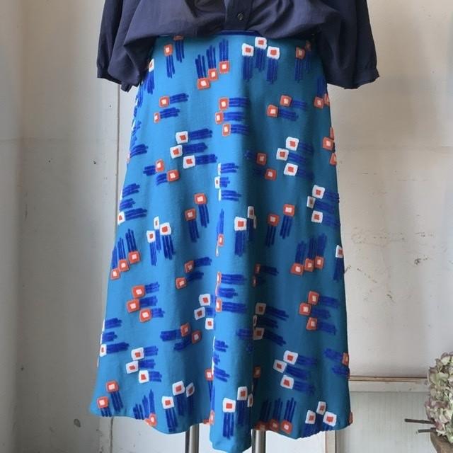 【マーメイドスカート】flower ster/グレー/original textile《オーダー可能》