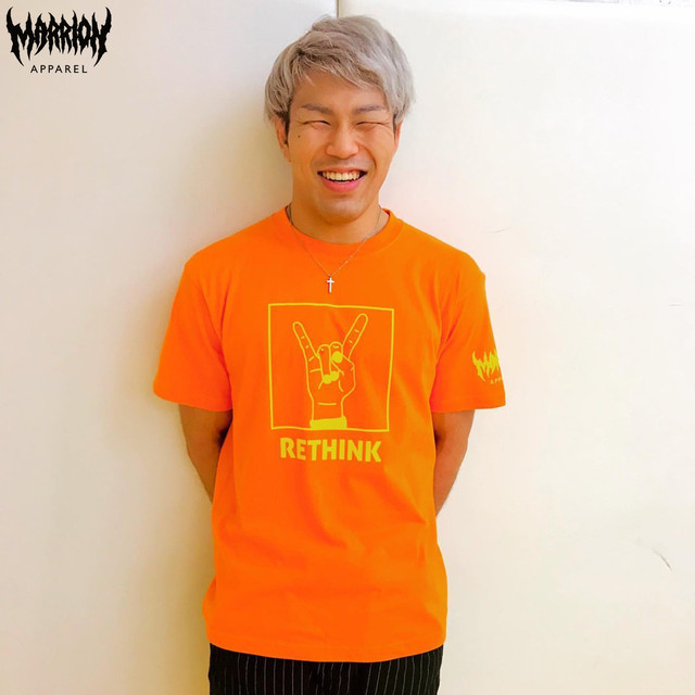 【Cotton100%】「RETHINK」Tee (Orange×LemonYellow)