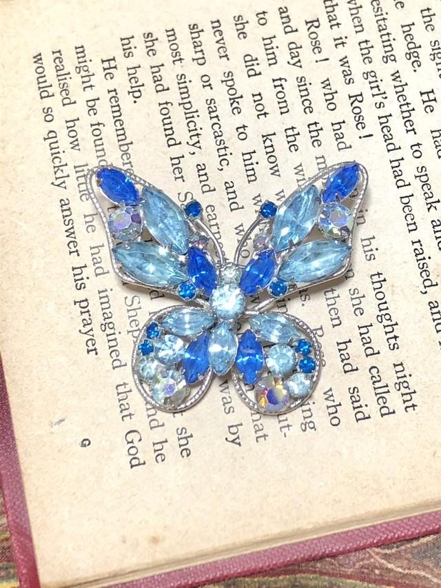 【Run Rabbit Run Vintage 】Butterfly brooch blue