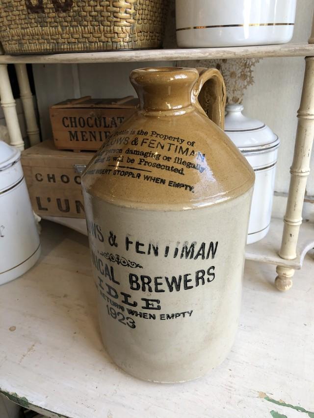 イギリスアンティーク ビッグサイズ陶器のビアボトル