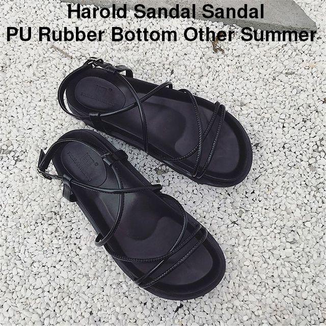 レディース ストラップクロスベルト厚底フラットサンダル 歩きやすい 痛くない / HAROLD SANDAL PU RUBBER BOTTOM (WCN-1529908642)