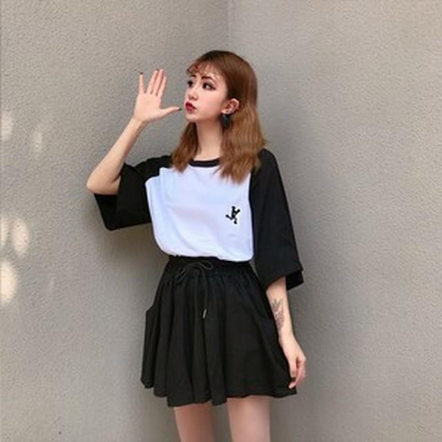 【大きいサイズ韓国レディース】 SALE 在庫処分 送料無料 スポーツガール セットアップ ツートンカラー オーバーサイズ Tシャツ ワイドレッグ ショートパンツ カジュアル 4123