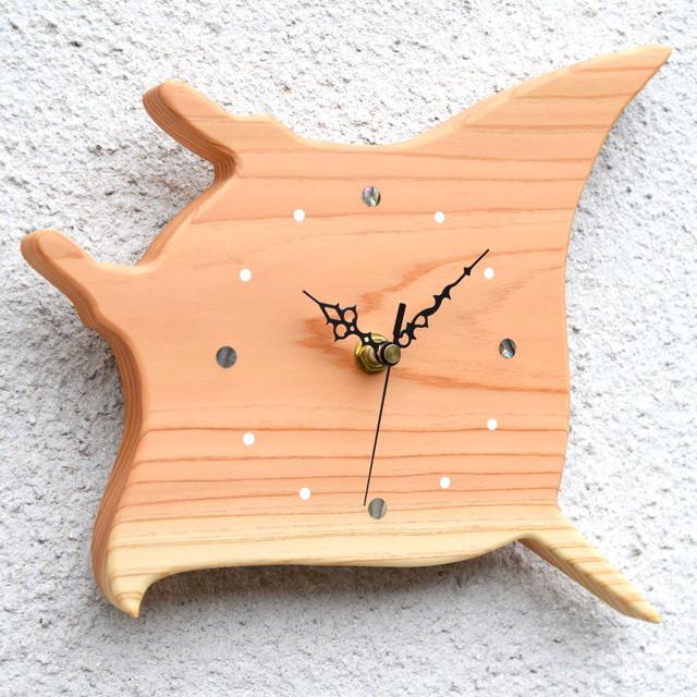 【海の生き物】掛時計『マンタ』【智頭杉】