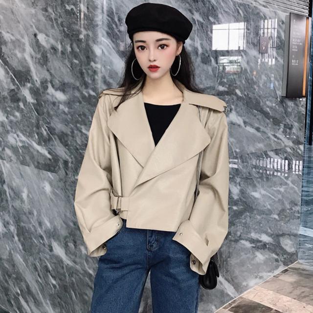 【アウター】韓国系無地長袖簡約切り替えショート丈折り襟ジャケット23184618