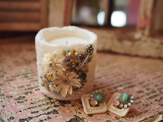 Vintage candle & earclip (collaboration set 2)
