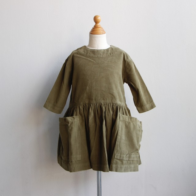 《AS WE GROW 2020AW》Pocket Dress long sleeve / Olive