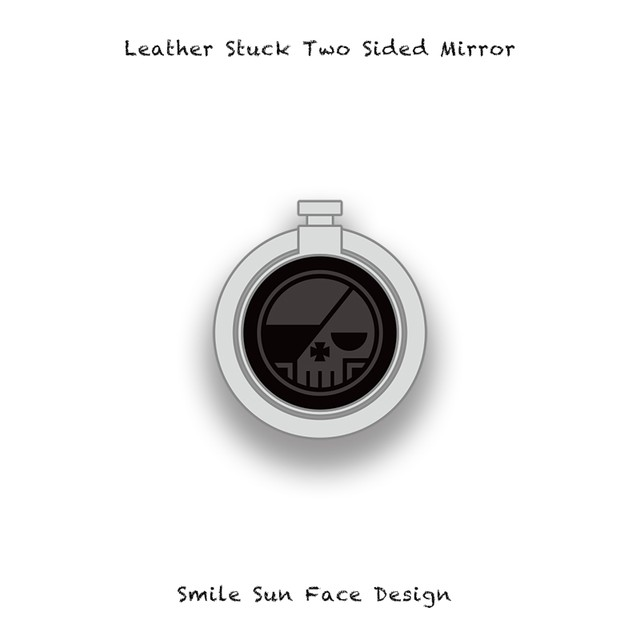 Leather Stuck Smartphone Ring / Round Skull Design 001