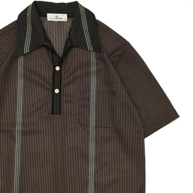 Japan vtg retro stripe sheer polo shirt ②