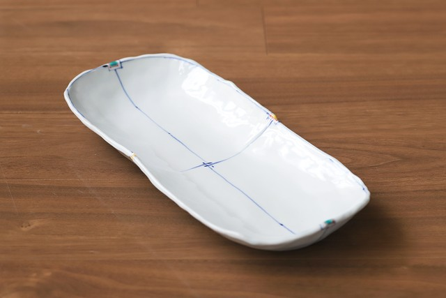 松尾貞一郎 楕円長皿 201006-K16 貞土窯(有田焼)