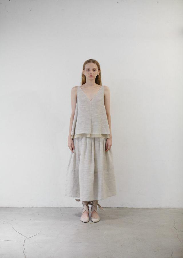 Linen brend bell skirt