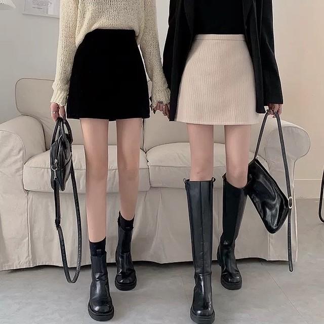 mini corduroy skirt 2color
