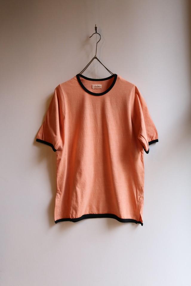 THE HINOKI オーガニックコットン リンガーTシャツー茶綿ワンウオッシュ Brown x Black  #TH20S-33BN