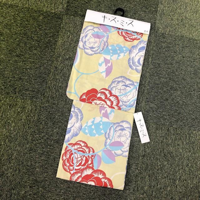浴衣 レディース 単品 ポリエステル素材<黒/ピンクの椿> Yukata