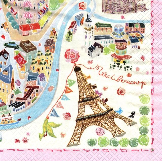 入荷しました|完売再入荷【Aimez le style】バラ売り1枚 ランチサイズ ペーパーナプキン パリの絵地図 クリーム