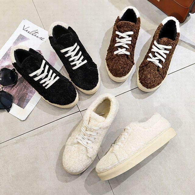 ファー スニーカー ファーシューズ ローカット シンプル / Hairy flat bottom strap cotton shoes wild plus velvet casual shoes (DCT-580226749925)