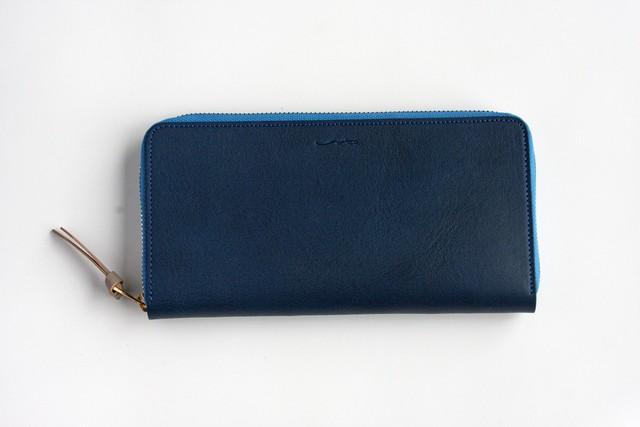 ※完売※シュリンクレザー(栃木レザー)_ブルー◆外装◆おとな財布◆ラウンドジップ