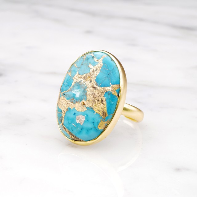 SINGLE BIG STONE RING GOLD 097