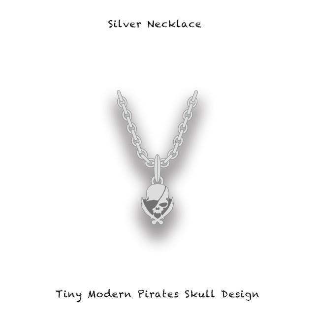 Silver Necklace / Tiny Modern Pirates Skull Design【 Pretty Thin Chain 】