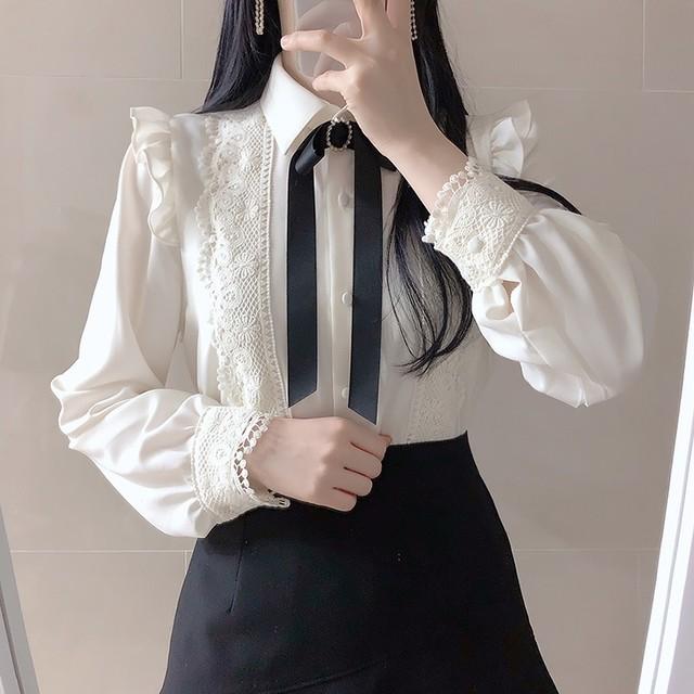 刺繍リボン 長袖 フリル ブラウス  SHC531301