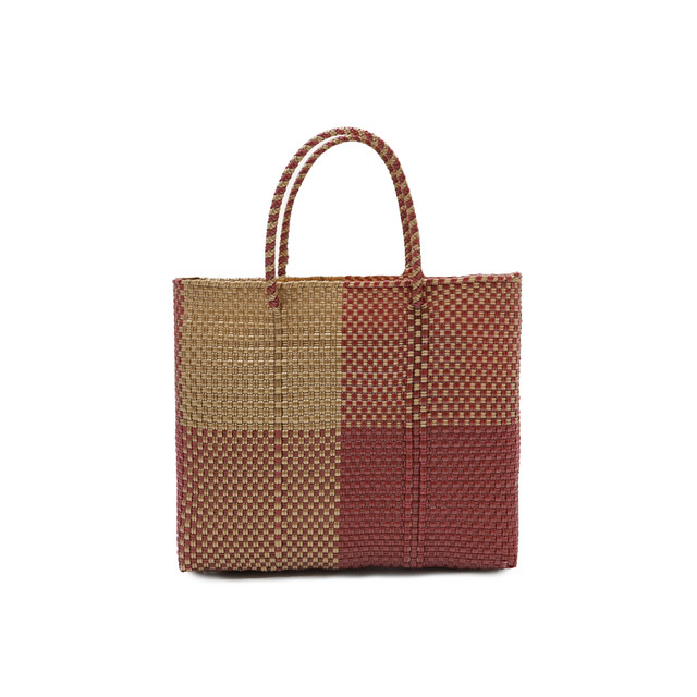 MERCADO BAG BLOCKS    -  Darkred x Gold(XS)