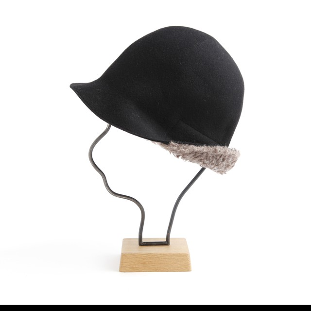 mature ha./pleats knit cap/black