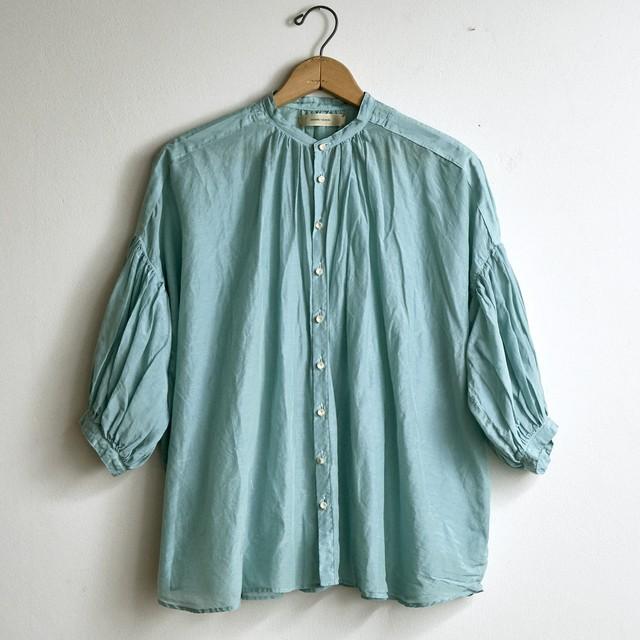 suzuki takayuki スズキタカユキ puff-sleeve blouse spray green S211-13 (レディース)