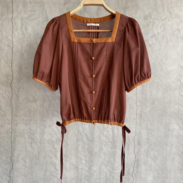 【受注生産・2月下旬〜4月頃お届け】Volume sleeve tack blouse