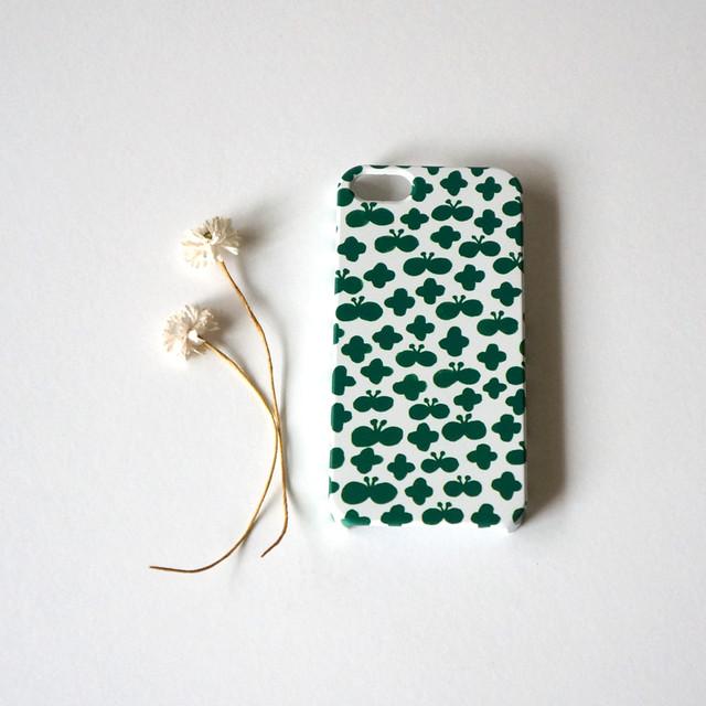 flower and butterfly ( deep green ) スマホケース - S / M サイズ 【受注生産】
