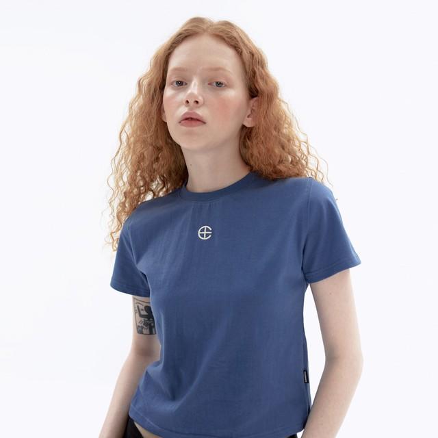 「STD1」クロップドTシャツ(ブルー)