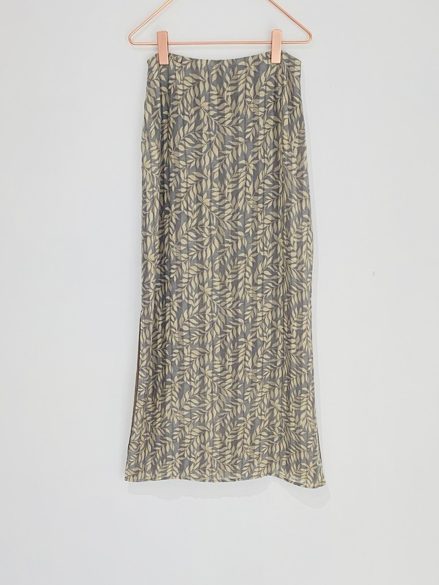 ◼︎90s  leaf print silk skirt from U.S.A◼︎
