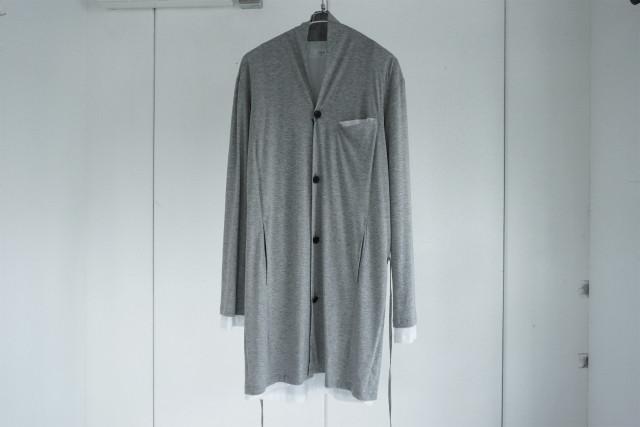 ASKYY / Layered long cardigan / GRYWHT