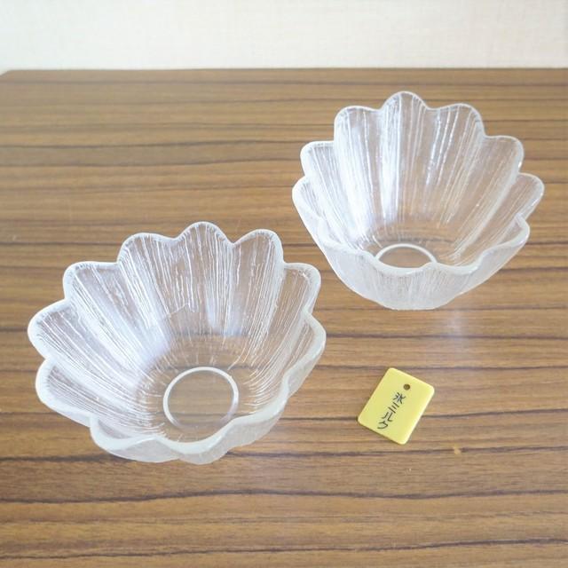 古いかき氷グラス 2個セット(食券プレートつき)