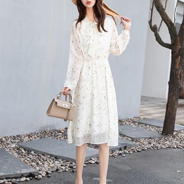 【dress】花柄ワンピースレトロリボンファッションラウンドネックプリント