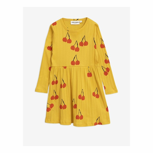 【19AW】 mini rodini ( ミニロディーニ ) -Cherry Is dress【Yellow】 [80/86・92/98・104/110]