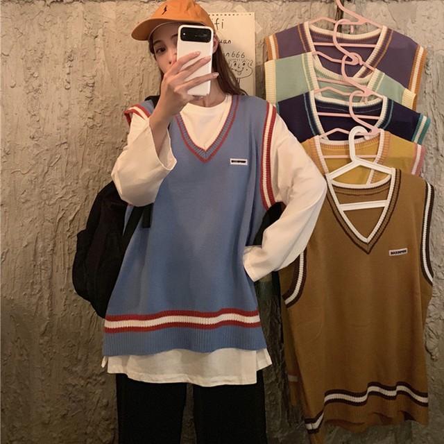 レディース ニットベスト Vネック ラインベスト トップス ニット ライン入り トラッド ゆるかわ 春 秋 冬 韓国 韓国ファッション / Loose V-neck stripe knit vest with long section (DTC-600984449922)